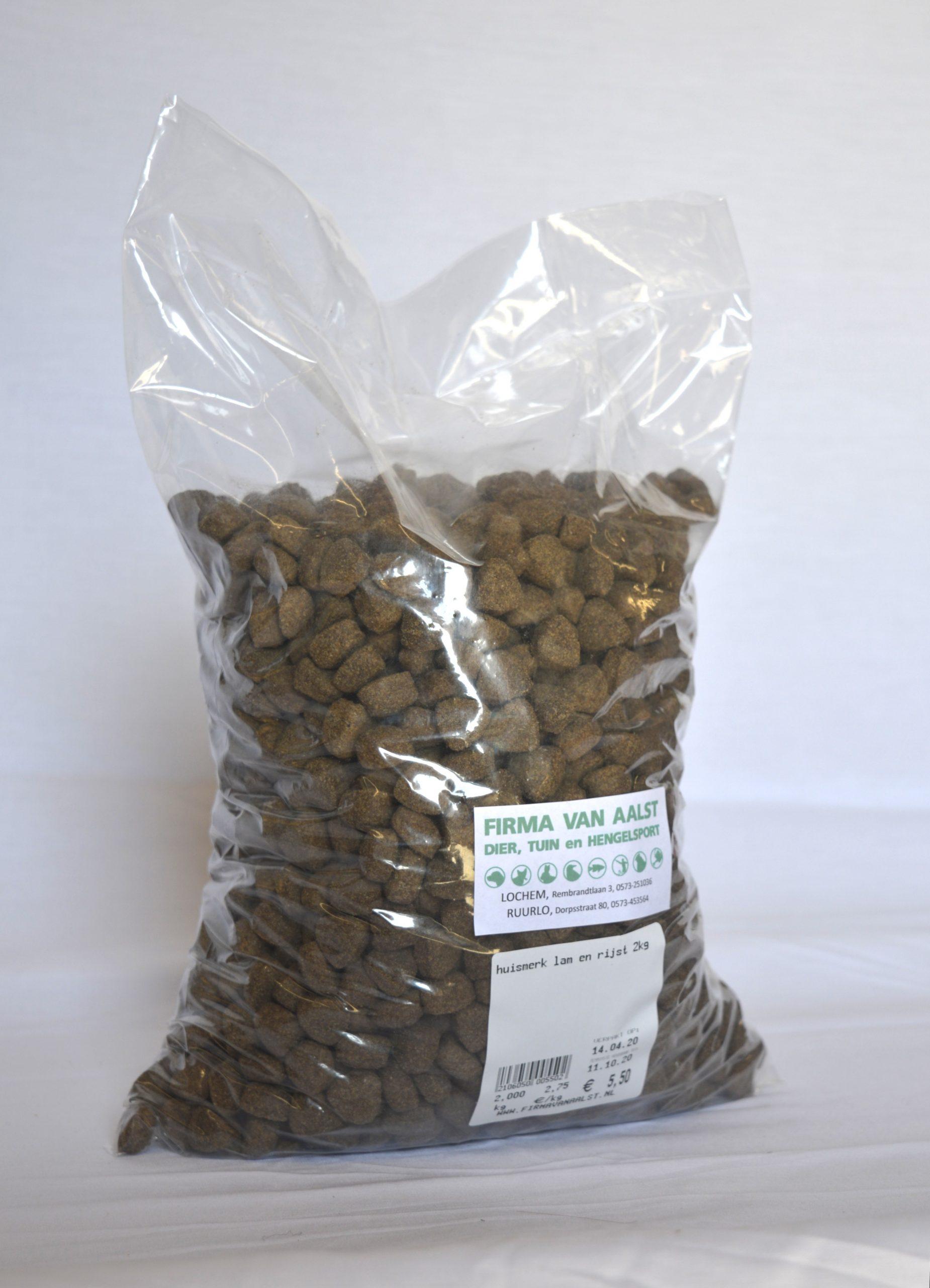 Huismerk hond Krokante brok lam rijst 2kg